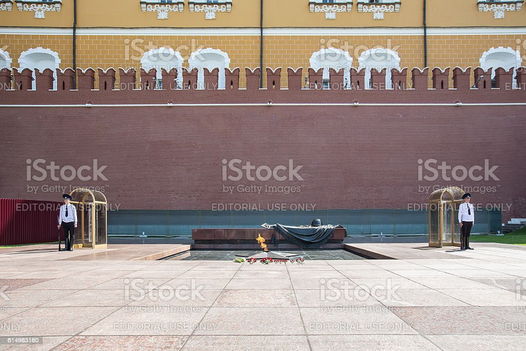 Honor guard in memory of the unknown soldier in Moscow royalty-free stock photo
