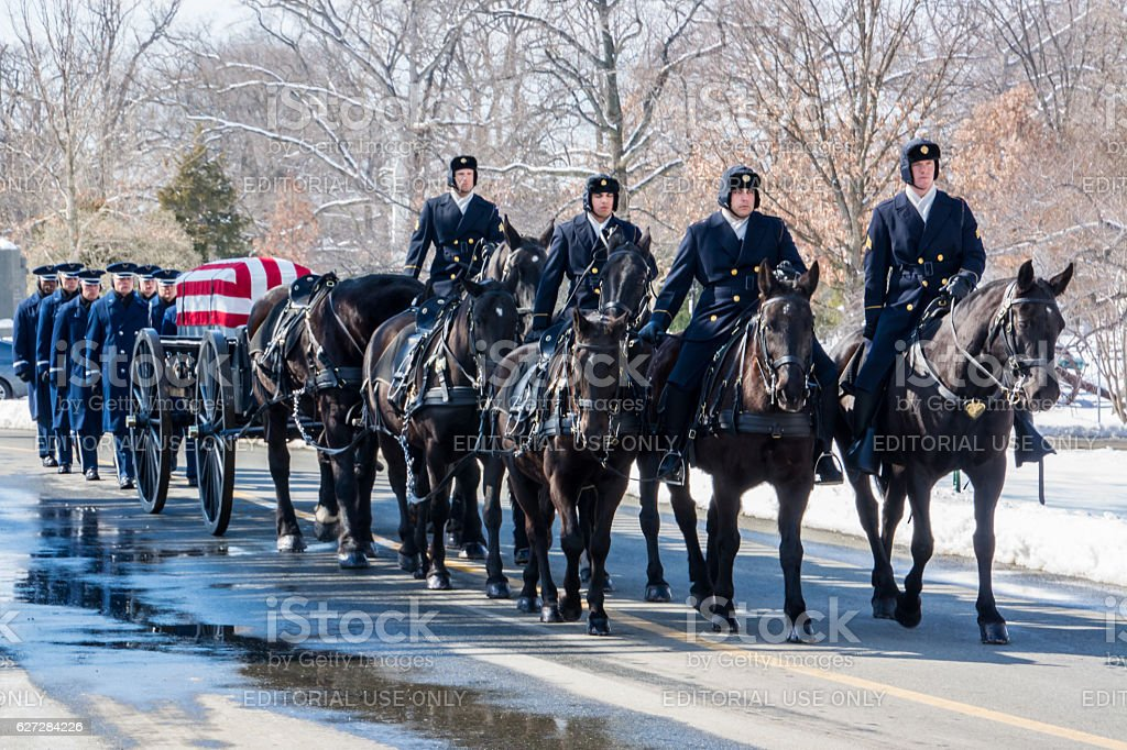 Honor Guard on horseback at Arlington National Cemetery stock photo