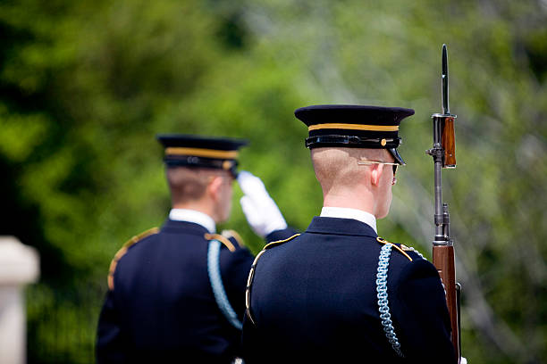 Honor guard posted at a funeral stock photo