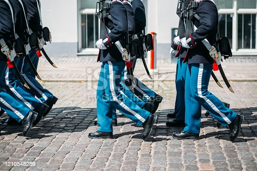 Ceremonial guards in their blue uniforms protecting city of  Copenhagen