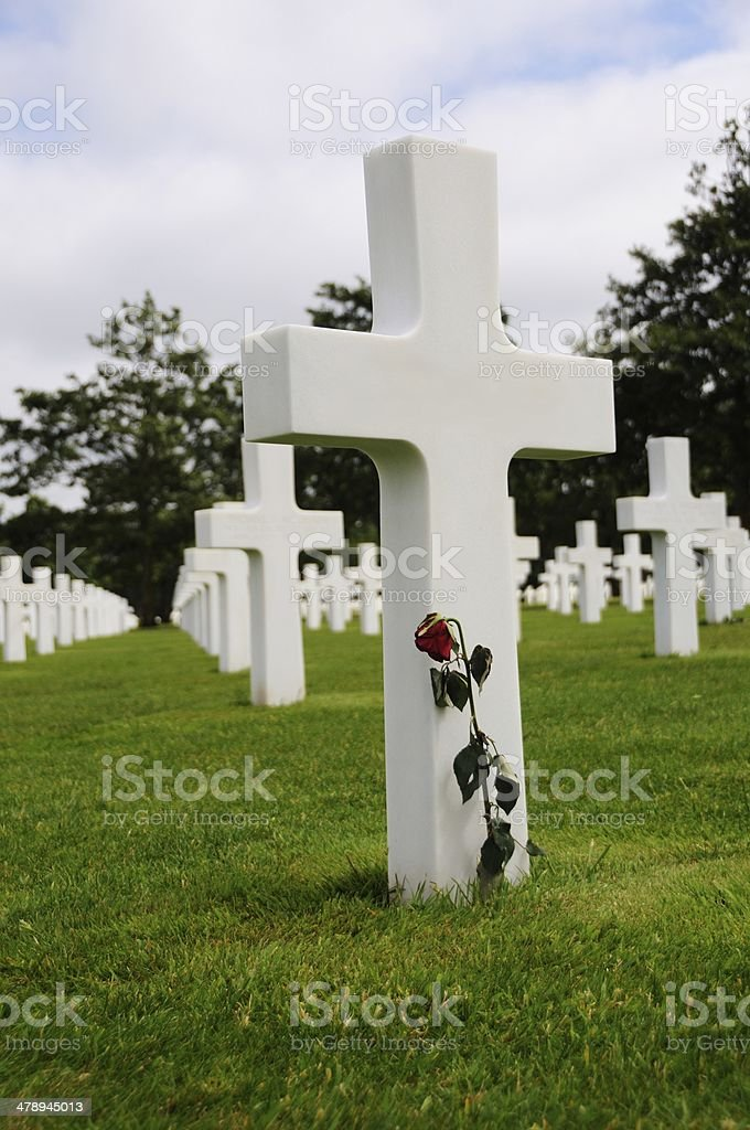 Honored Dead Cross headstone Normandy France royalty-free stock photo