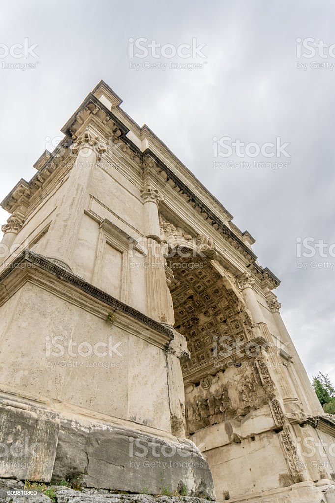 Honorific Arch of Titus, Rome,  from Below stock photo