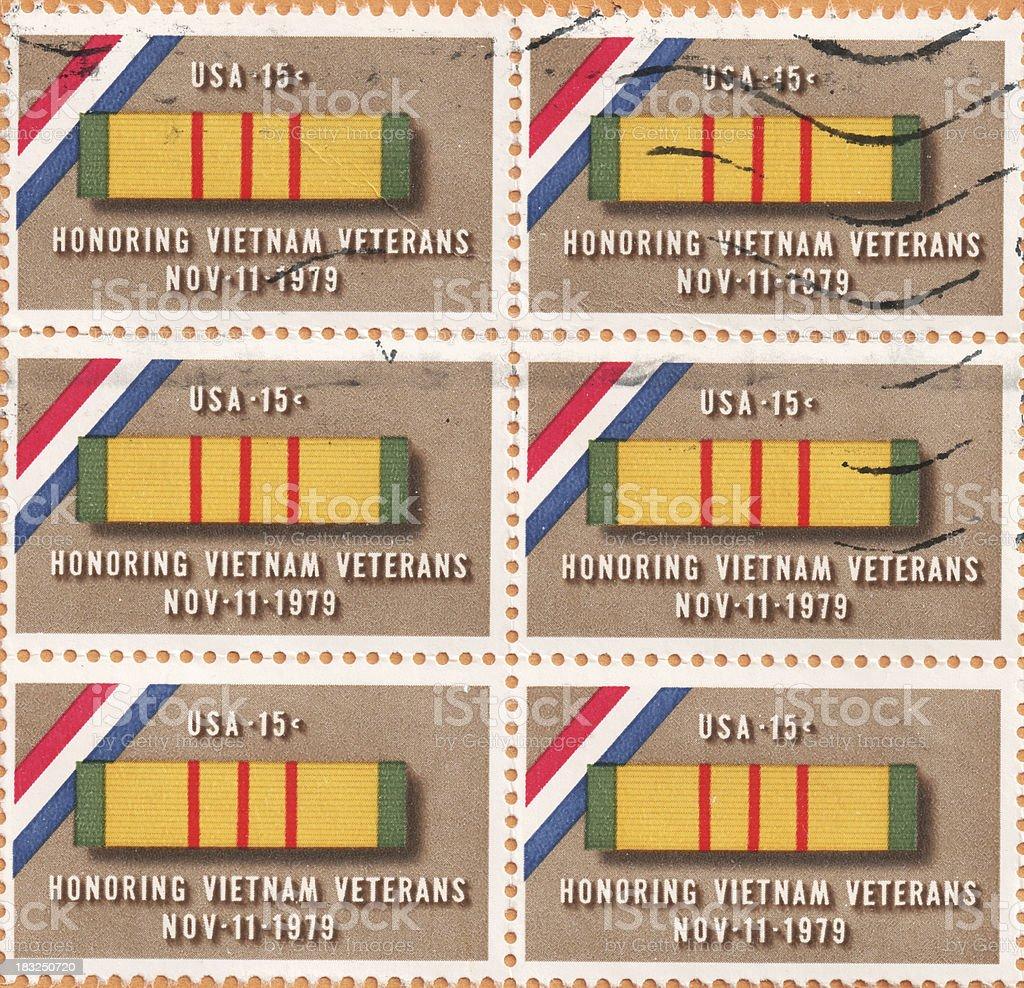 Honoring Vietnam Veterans - 70's Style Stamps stock photo