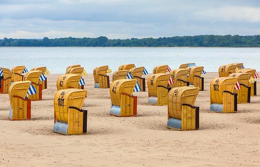 Hooded beach chairs (strandkorb) at Baltic seacoast, Germany