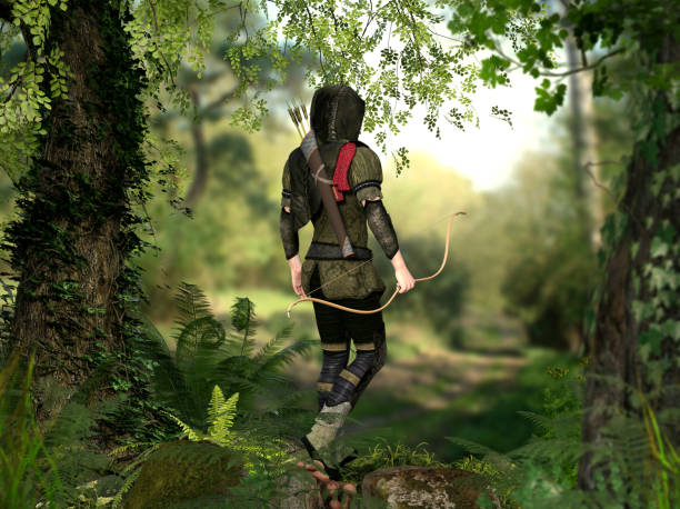 A hooded hunter with bow and arrows walks through a forest A hooded hunter with bow and arrows walks through a deep forest, 3d render elements hood clothing stock pictures, royalty-free photos & images