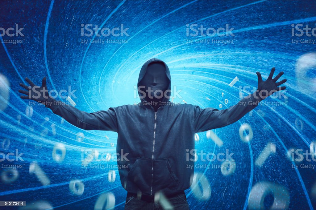 Hooded man with mask expression – Foto