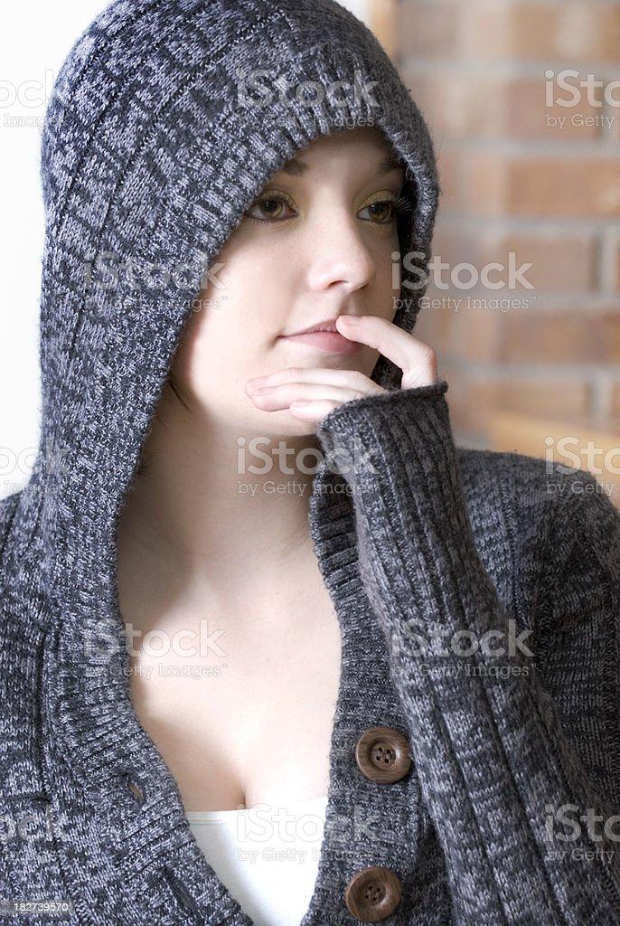 Hooded Thinker royalty-free stock photo