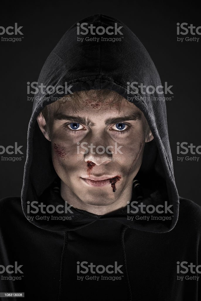 Hooded young man. stock photo