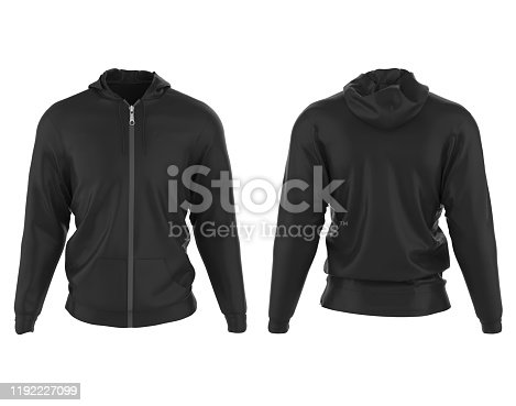 Hoodie Jacket isolated on white background. 3D render