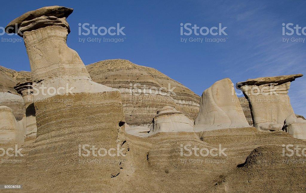 Hoodoos in Drumheller Valley, Alberta stock photo
