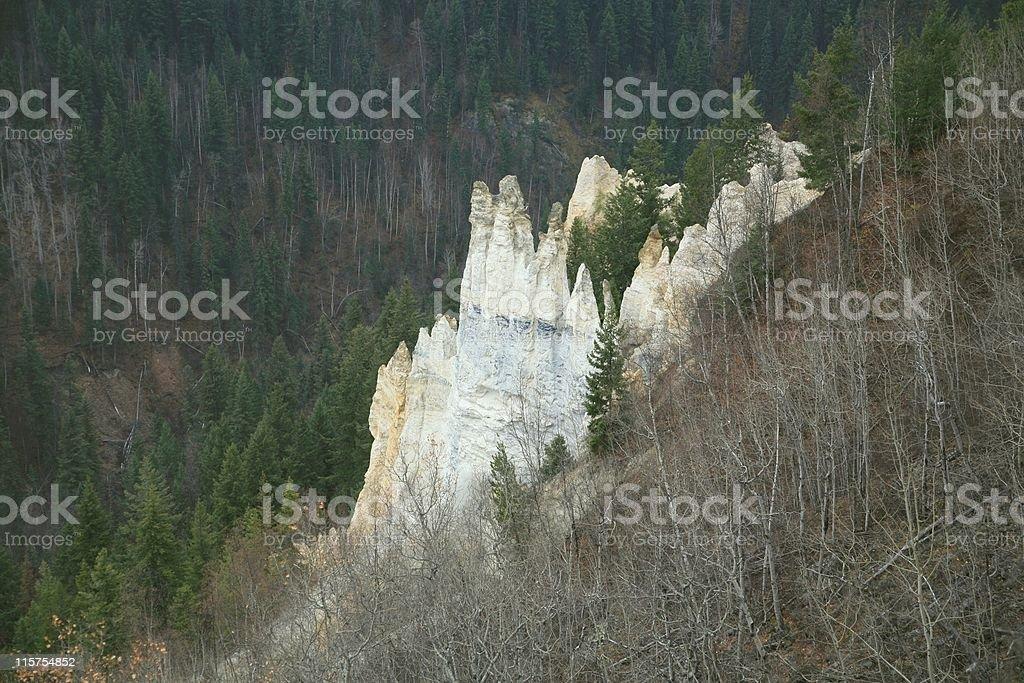 Hoodoos in Pinnacles Park west of Quesnel, B.C. stock photo
