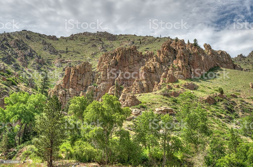 Hoodoos in Poudre Canyon Colorado stock photo