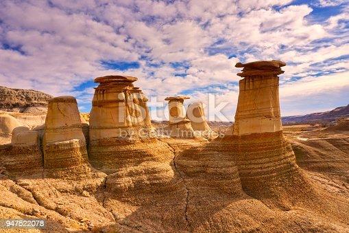 Hoodoo formations in dry, sandy climate of Drumheller, Alberta