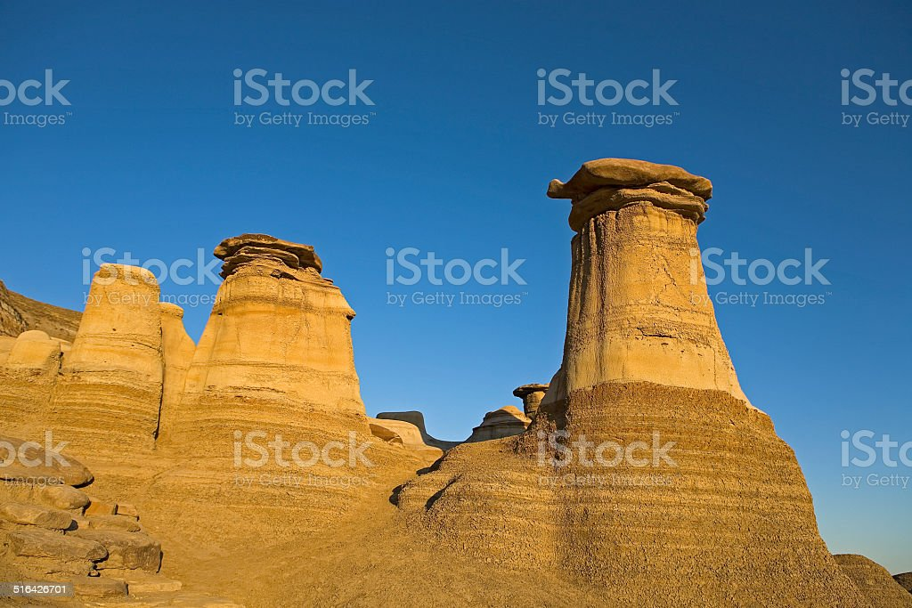 hoodoos with blue sky background stock photo