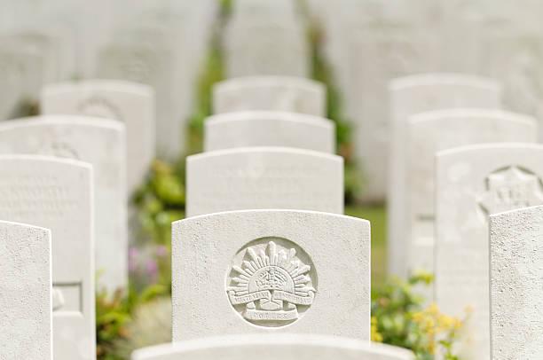 Hooge Crater Cemetery tombstones stock photo