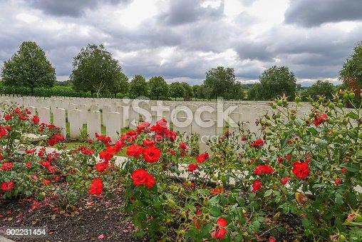 Hooge Crater WW1 Cemetery near Ypres in Belgium