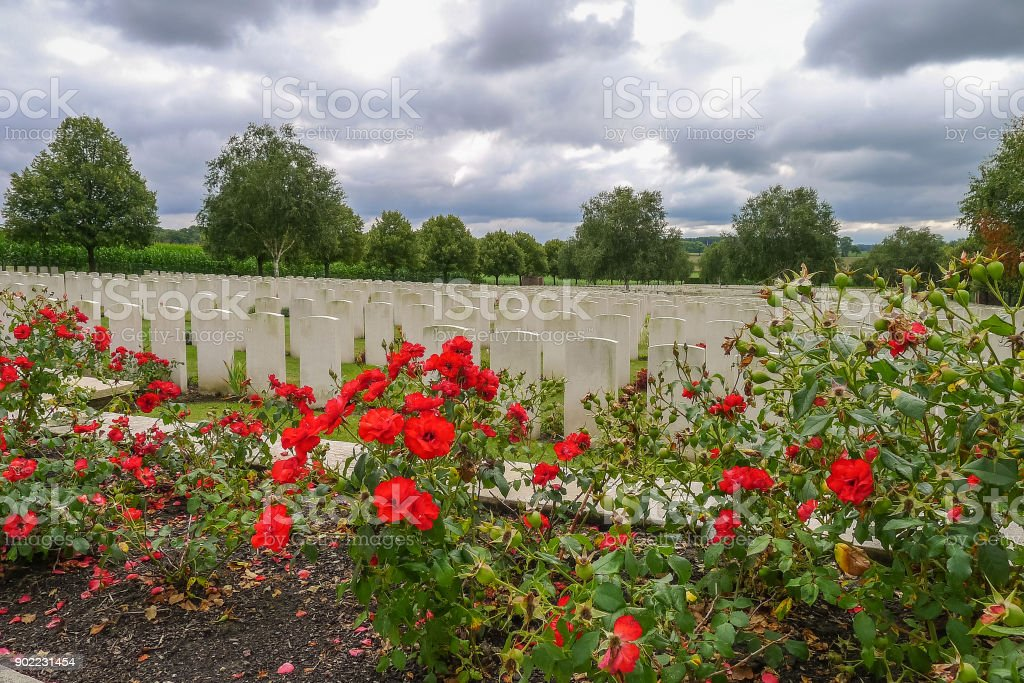 Hooge Crater WW1 Cemetery near Ypres stock photo