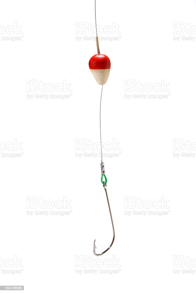 A hook and float hang from a line on a white background stock photo