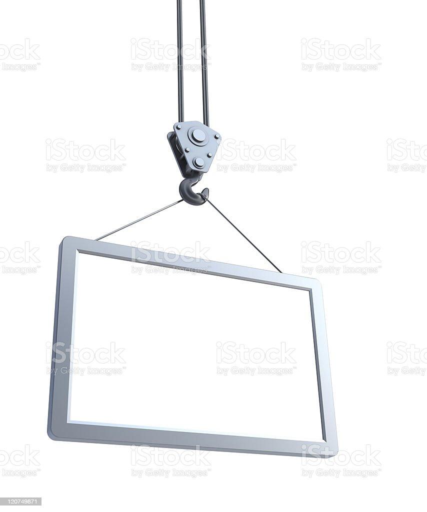 A hook holding a empty blank billboard royalty-free stock photo