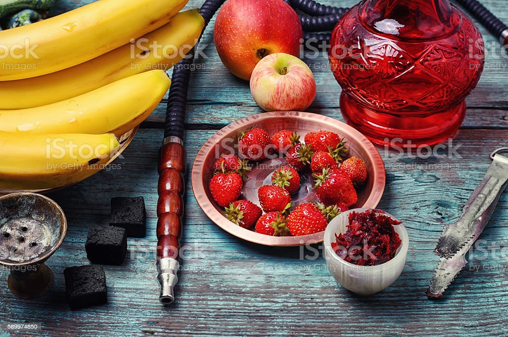Hookah and fruit stock photo
