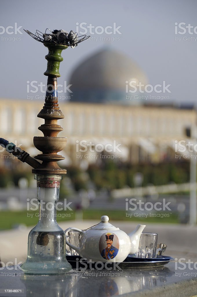 Hookah and Teapot, Naghsh-i Jahan Square, Isfahan, Iran stock photo