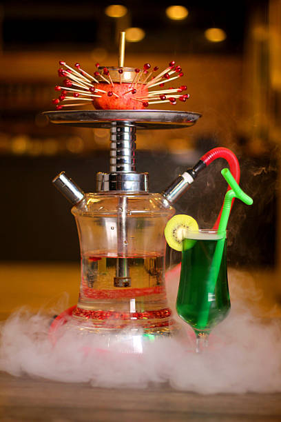 Hookah fruit and drink stock photo