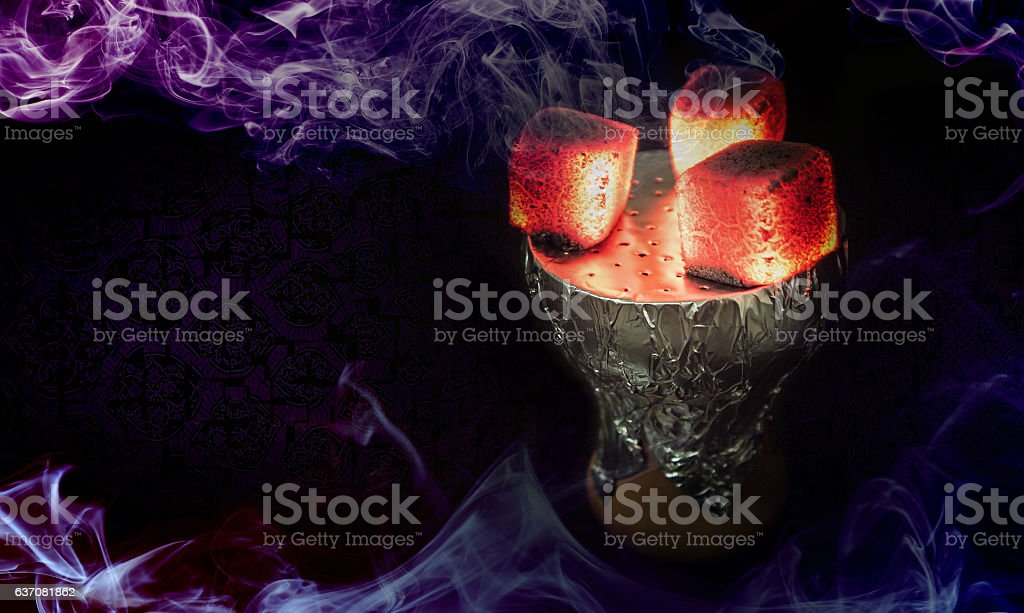 Hookah hot coals for smoking shisha stock photo