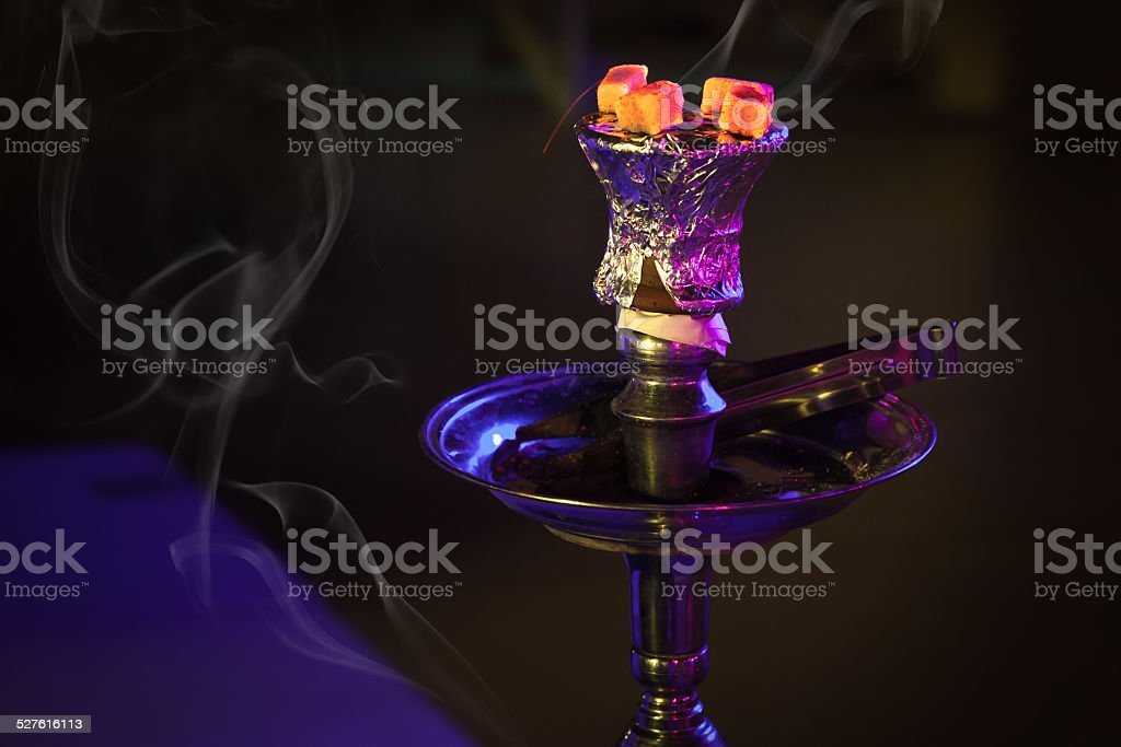 Hookah with burning coals in the night stock photo