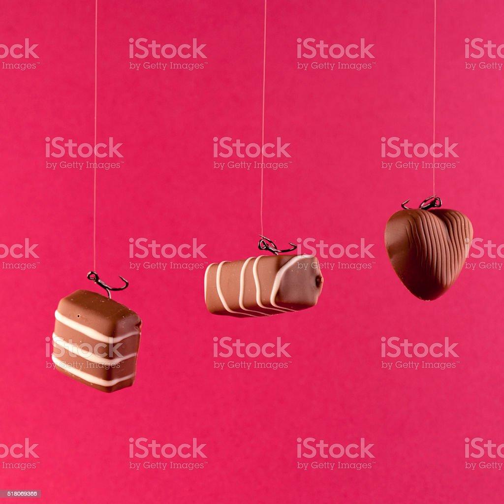Hooked On Sugar; Chocolates stock photo