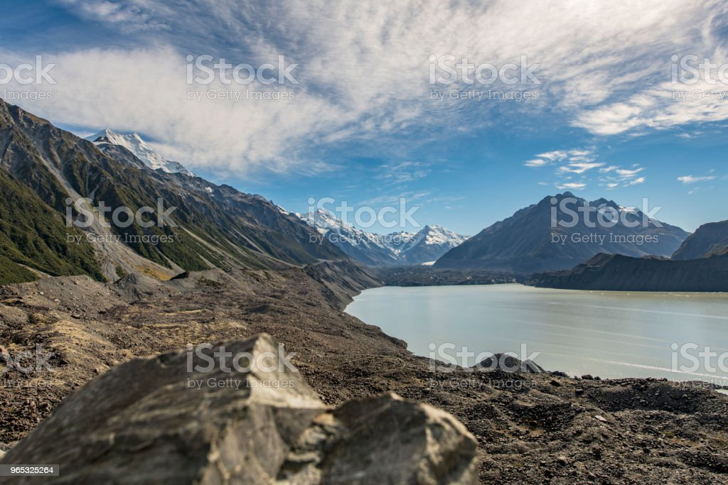 Hooker lake at Mount Cook National Park, New Zealand royalty-free stock photo