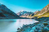 Beautiful areal view of the Hooker Lake in front of Mt Cook, 3724 m, New Zealand.