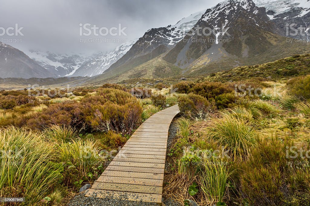 Hooker Lake in Mount Cook National Park, New Zealand stock photo