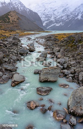 Looking down on the Hooker River in the Mt Cook National Park