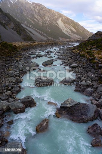 The Hooker River in the Mt Cook National Park, on New Zealand's South Island.