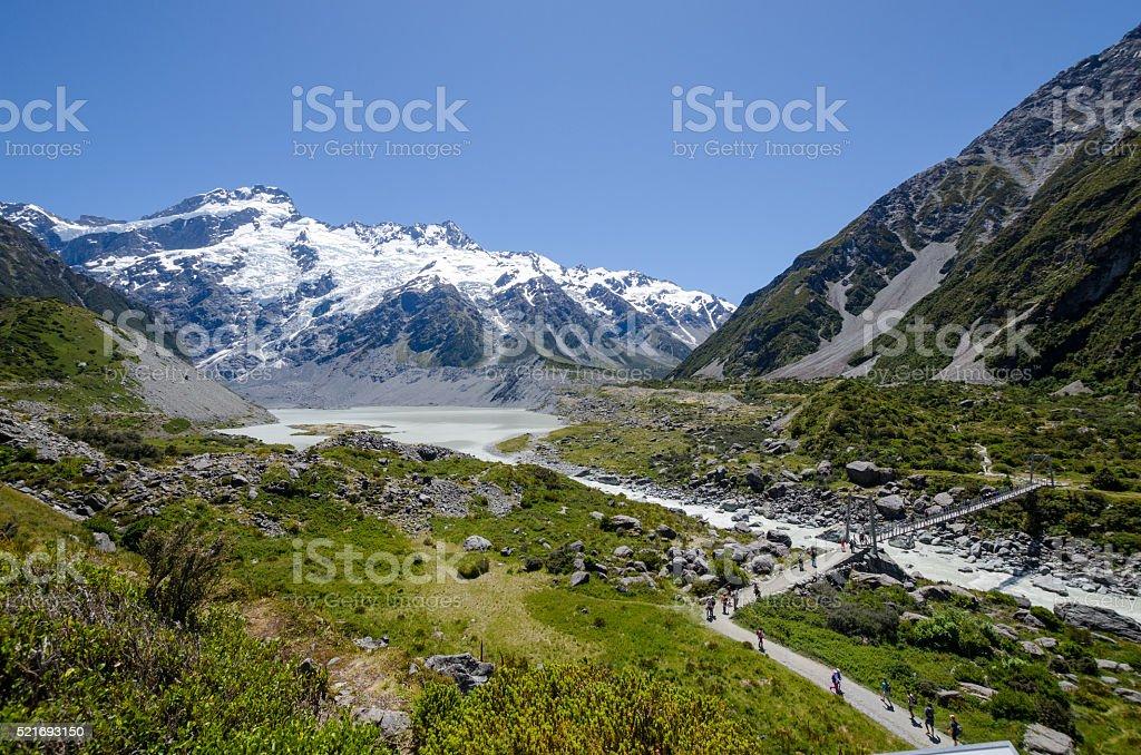 Hooker Valley Bridge, Mount Cook National Park, New Zealand stock photo