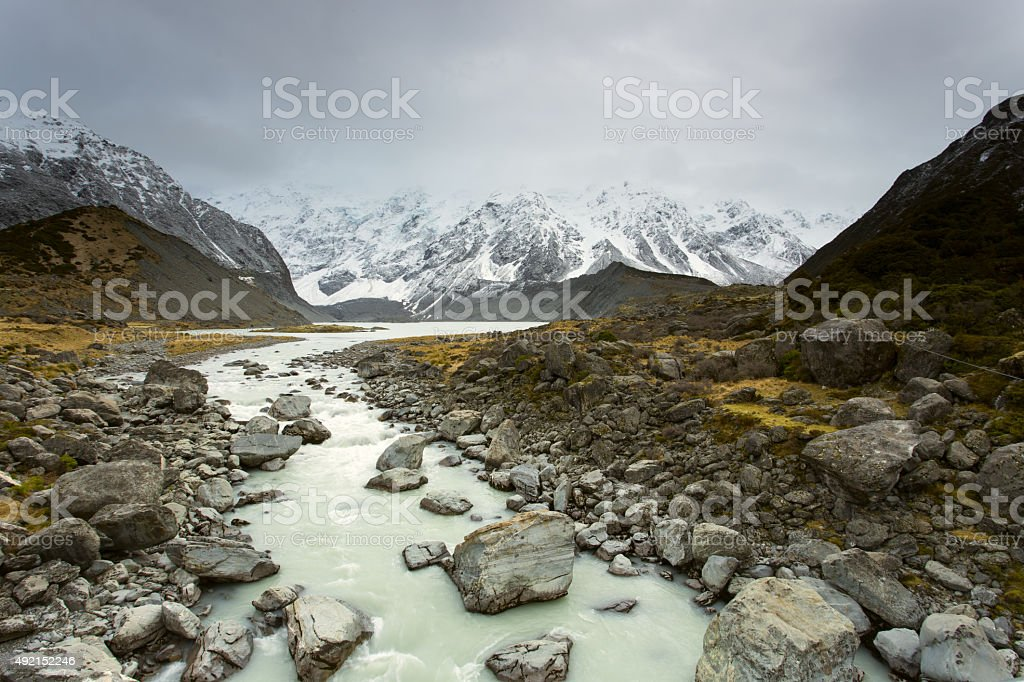 Hooker Valley, Mount Cook National Park stock photo