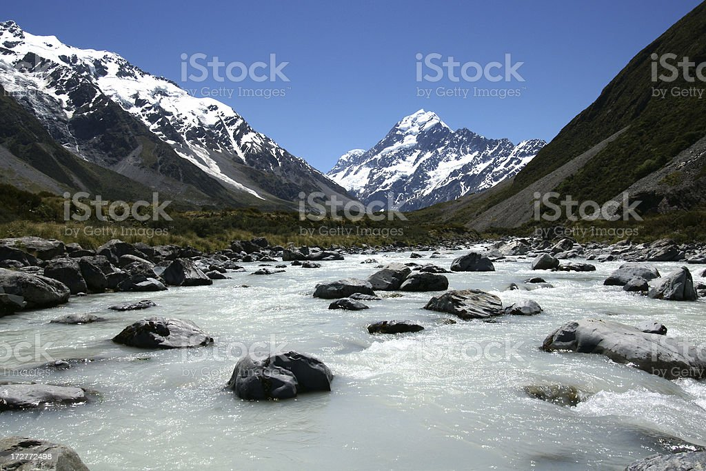 Hooker Valley River in Mount Cook National Park stock photo