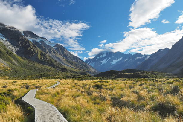Hooker Valley Track, Mount Cook National Park, New Zealand stock photo