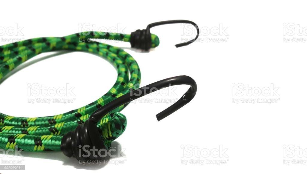Hooks and elastic straps ropes. stock photo