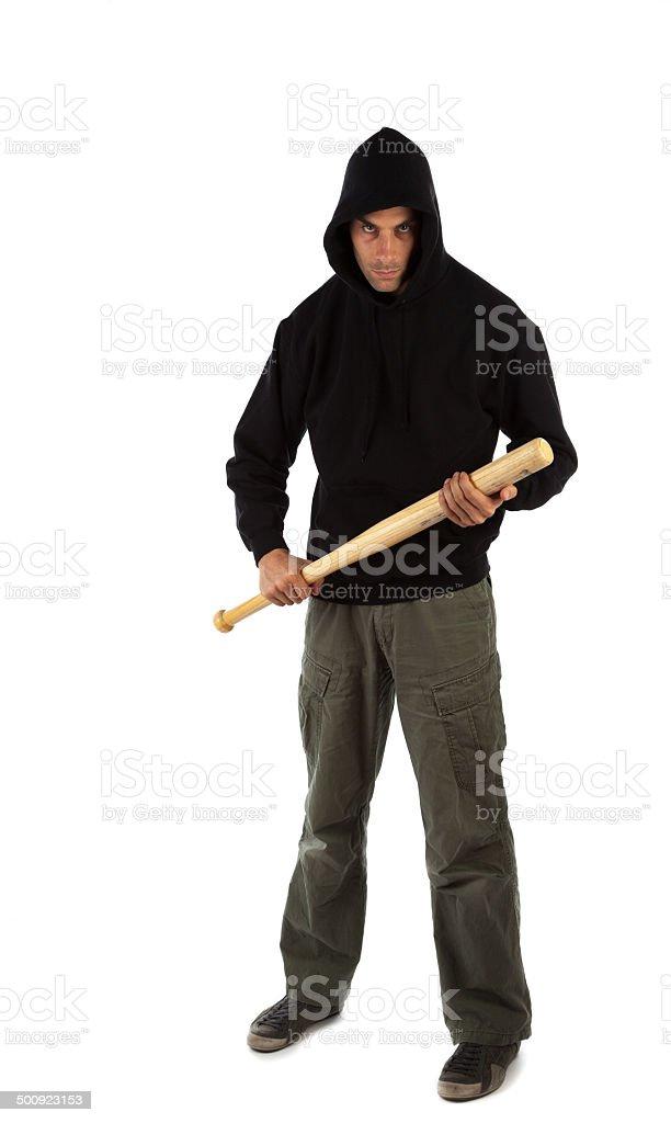 Hooligan with baseball bat stock photo