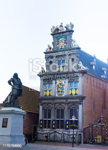 Hoorn, North Holland, Netherlands: The ornate Westfries Museum in downtown Hoorn (formerly Hoorn's Town Hall, dating from 1632). The statue is Jan Pieterszoon Coen by sculptor Ferdinand Leenhoff (1887).