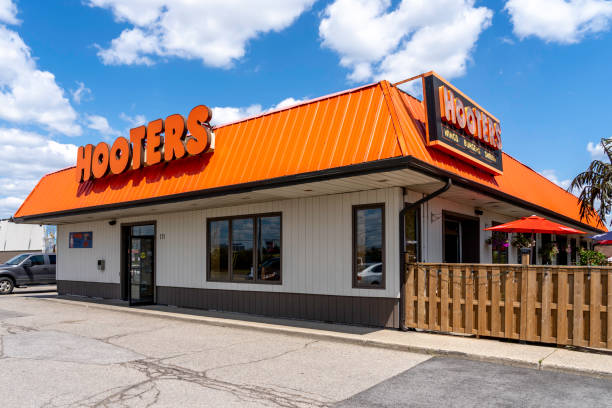 Hooters restaurant near Pearson Airport in Mississauga, Ontario, Canada. stock photo