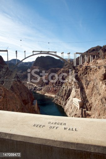 Hoover Dam And Bypass Bridge During Construction Stock Photo