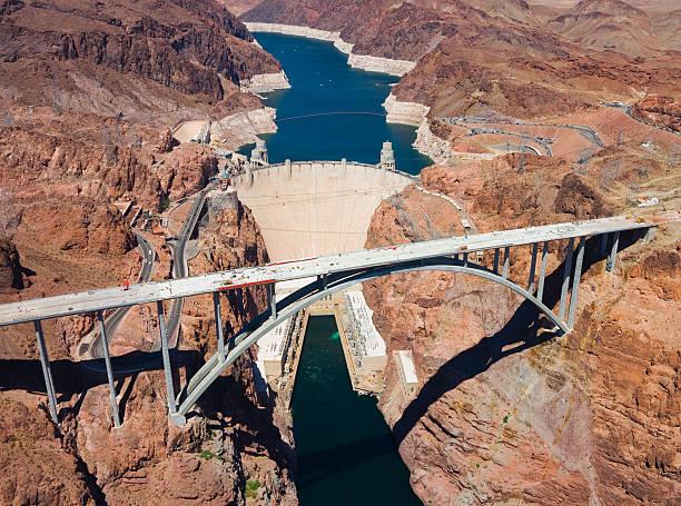 Hoover dam and Colorado river bridge's aerial view stock photo