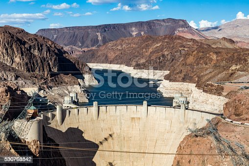View of the Hoover Dam and Lake Mead near Las Vegas in Nevada, USA in summer 2015