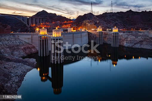 Hoover Dam at Lake Mead at night on the border of Nevada and Arizona in southwestern United States is considered the eigth wonder of the world.