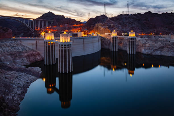 Hoover Dam at Sunset Nevada Arizona stock photo