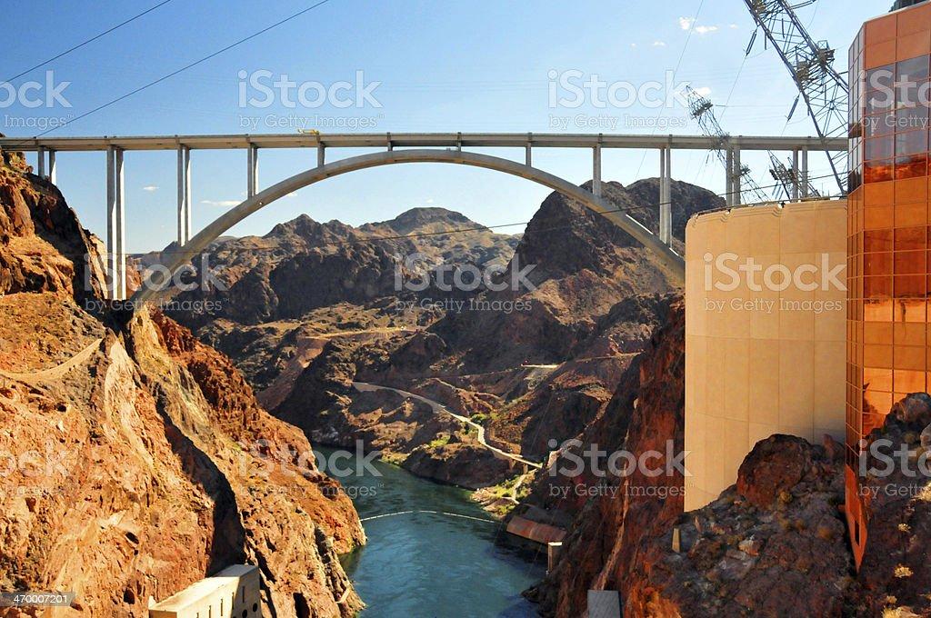 Hoover Dam, bridge on the Arizona / Nevada state border royalty-free stock photo