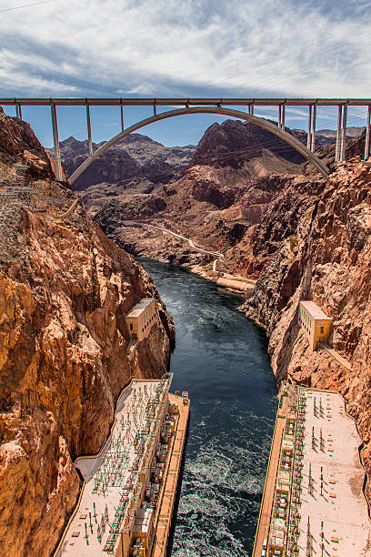 hoover dam downstream and bypass bridge - clark county nevada stock pictures, royalty-free photos & images