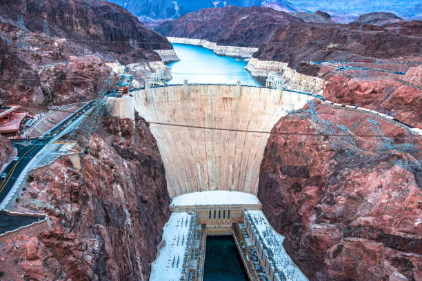 Hoover Dam high angle view stock photo